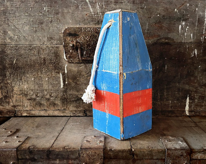 """Beach Decor, 12,5"""" Old-style lobster float buoy, Blue, Red, Nautical by SEASTYLE"""