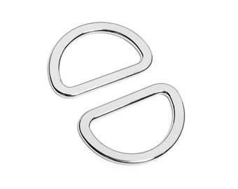 "10pcs - 1 1/4"" (32mm) Flat Zinc D-Ring - Nickel - (FDR-112) - Free Shipping"
