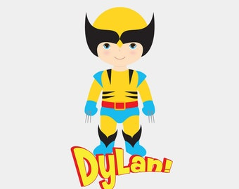 Personalized Name - Boy Super Hero - Wolverine - Bodysuit or T-Shirt