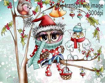 Twiggy & Toots boom Snowman Christmas zwart en wit digitale stempel