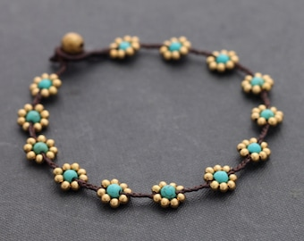 Bead Woven Anklets Flower Daisy Turquoise Braided Cute Gift For Her Friendship