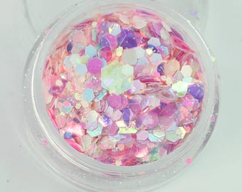 Candy Floss (SC28) Super Chunky Cosmetic Glitter Mix - Festival Dance Club Face Eye Body MUA Nail Art Slime Wax Melt