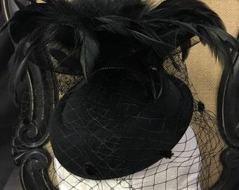 Vintage inspired black feather tulle oval hat fascinator