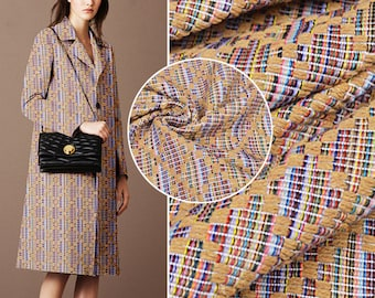 Modern Blend Fabric By The Yard Printed Fabric Women Dress Fabric Clothing Fabric Jacket Fabric Skirt Fabric Woven Coat Fabric-UIY777