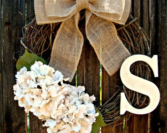 White Hydrangea Wreath with Monogram -Spring Wreath - Initial Wreath - Monogram Wreath-  Personalized Wreath  - Door Wreath  -  Wreath