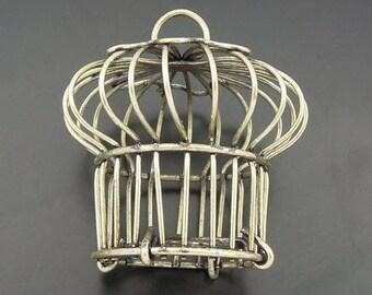 Bronze metal bird cage charm pendant