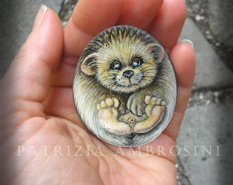 Hedgehog No.4  Handpainted rock painting painted stone miniature painted rock pebble fine art