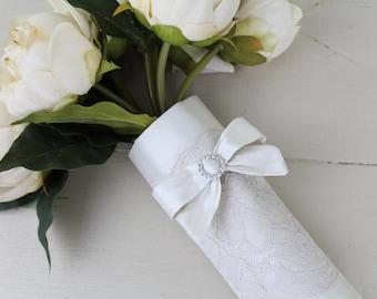 Silk Wedding Bouquet Wrap with diamanté button design.