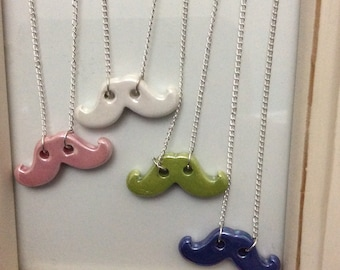 Quirky ceramic moustache necklace on silver plated chain