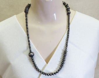 Sterling Bead Necklace, 26 Inches, Vintage