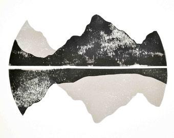 Range (Mountains) - Original Hand-pulled Linocut Print