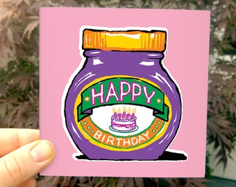 Marmite Happy Birthday - a fun card inspired by the classic jar ... marmite fan love it or hate it!
