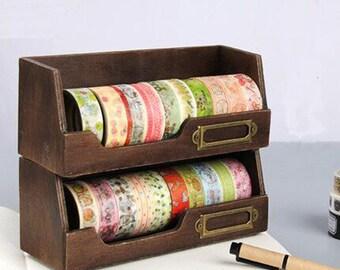 Wooden Washi tape Storage Case/ Washi Tape Organizer/ Masking Tape Organizer / Washi Tape Holder/ Cosmetic Case/Wooden Frame for Washi tape