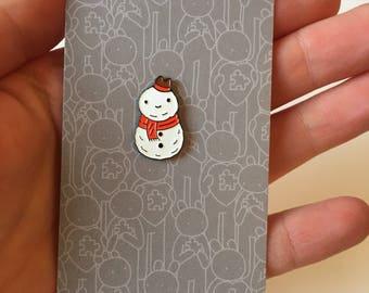 Happy snowman enamel pin
