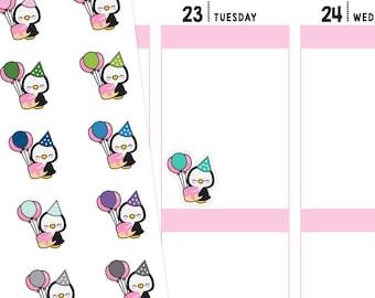 Birthday Penguins Planner Stickers, Birthday Stickers, Penguin Stickers, Cute Stickers