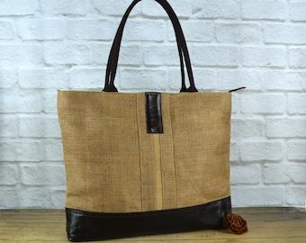 Yogic bag ~ Leather Tote ~ Leather Handbag  ~ Canvas Tote ~ Organic Tote ~ Rustic Tote ~ Spacious tote  ~ Jute/ Burlap tote~ Ready to Ship