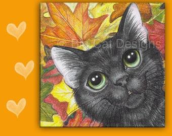 CAT TILE, Cat Trivit, Black Cat Tile, Ceramic Cat Tile,  Cat Spoon Rest, Cat Sign, Cat Lover Gift