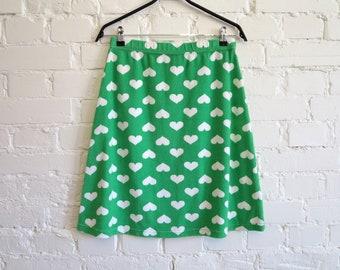 Green Terry Skirt Heart Print Knee Skirt Elastic Waist Jersey Skirt A-Line Stretchy Skirt Terrycloth Skirts Medium Size