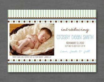 Baby Boy Photo Birth or Adoption Announcement