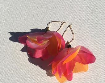 Hawaiian lei fabric flower earrings
