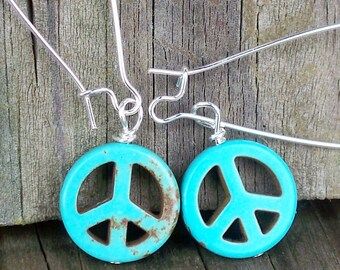Peace Sign Earrings Turquoise Peace Sign Earrings Peace Earrings Long Peace Sign Earrings Peace Sign Dangle Earrings Hippie Earrings 60s 70s