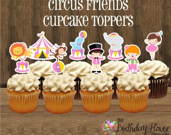 Circus Friends Party - Set of 24 Double Sided Assorted Pink Circus Cupcake Toppers by The Birthday House