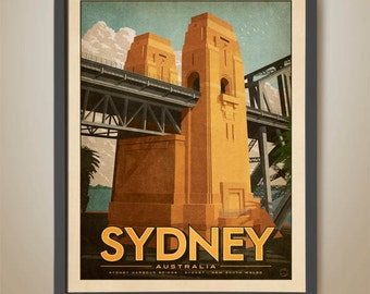 Sydney Harbour Bridge. Sydney Icon. Australian Art Deco Bridge. Sydney Travel Poster