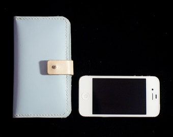Leather iPhone Purse in baby blue - hand stitched