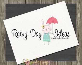 Rainy Days Bunny Logo, Premade Logo, Instant Download Logo, PSD Logo Template,  Custom Design Logo, DIY Logo, Logo Download, Logo #26