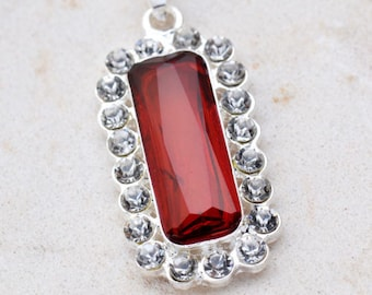 Silver plated rectangle red rubies and rhinestones