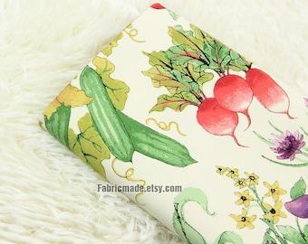 Heavy Cotton Bright Vegetables On Cream Cotton Fabric- 1/2 yard