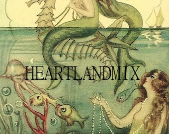 Vintage Wall Art Graphic Digital Download Mermaids Bathroom Art