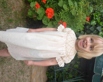 Size 3 Bishop Yoke Broderie Anglaise Dress with 'Rampling Rose' Smocking