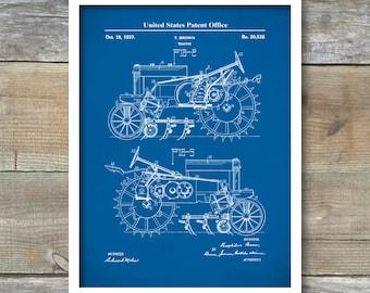 Tractor Patent Print, John Deere, Patent Art Print, Farm Patent Poster, Farmer Art, Tractor Print, Farm Decor, Farm Equipment,P497
