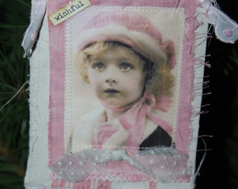 Mixed media fabric collage ornament/tag/shabby/Christmas