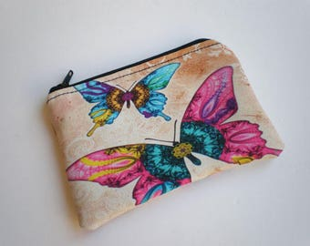 Coin purse, Small zipper pouch, Card wallet, butterfly, Gift idea, butterfly coin purse