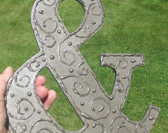 Ampersand symbol decor shelf sitter AND hammered metal look swirly