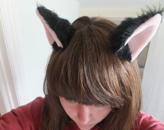 Black Furry Cosplay Cat Neko Kitty Ears Hair Clips Headband Kawaii Halloween Costume Festival Fursuit Christmas