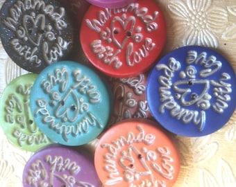 Buttons, set of ten, Handmade With Love