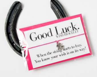 SALE - Good Luck Bracelet - Good Luck Gifts - Good Luck Charms - Good Luck Card - Good Luck Bride - Wish Bracelet - Charm Bracelet