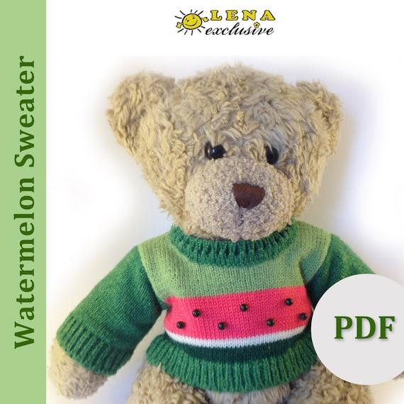 PDF 14 Inch Bear Knitting Pattern! Watermelon Sweater Pattern for 14 ...