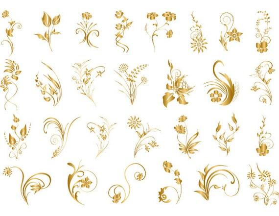 Gold Digital Flourish Flowers Clip Art Gold Flourish