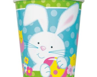 8x Bunny paper cups, Rabbit cups, bunny paper cups, farm theme, some bunny is one, spring party decor, woodland creatures, rabbit cups