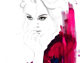 Intensity, print from original gouache and mixed media fashion illustration by Jessica Durrant