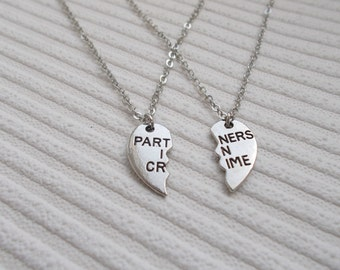 best friend gift set of two necklaces - partners in crime necklace set - silver necklace - best friend necklace silver jewellery