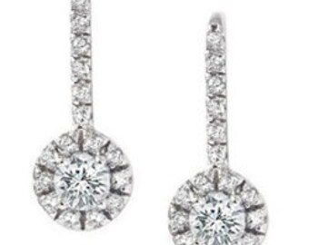NEW Womens 1.00CT Pave Halo Dangle Earrings 14K White Gold