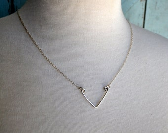 Chevron Necklace. Short Version. Recycled sterling silver geometric necklace. Simple, modern jewellery by Epheriell