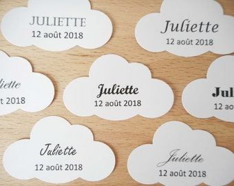 Lot 20 labels cloud, typography to choose from, black text white paper tag paper punch or not personalized, wedding, baptism
