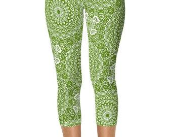 Avocado Green Capris Leggings, Yoga Printed Leggings, Green and White Mandala Art Yoga Pants