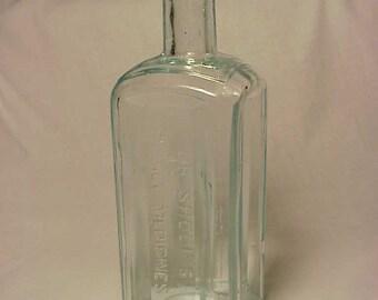 c1890s Dr. Shoop's Family Medicines Racine, Wis. , Cork Top Aqua Medicine Bottle No. 3